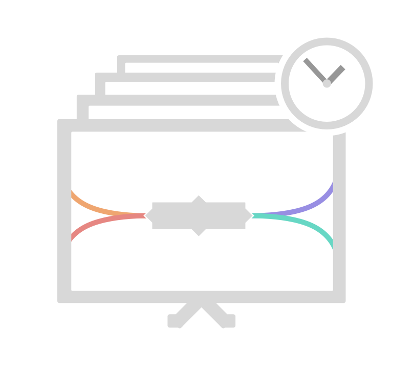 screen showing mindmap with clock icon